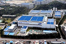 サムスン電子のメモリ製品の主力工場である「ファソン工場」の航空写真。敷地は非常に広大である