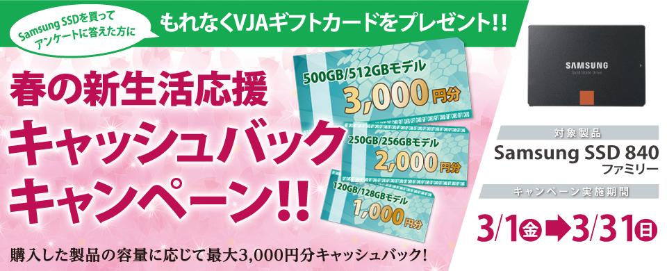 3月1日(金)スタート!Samsung SSD 840 ファミリー購入者対象 春の新生活応援 キャッシュバックキャンペーンを実施 最大3,000円分のギフトカードをプレゼント image